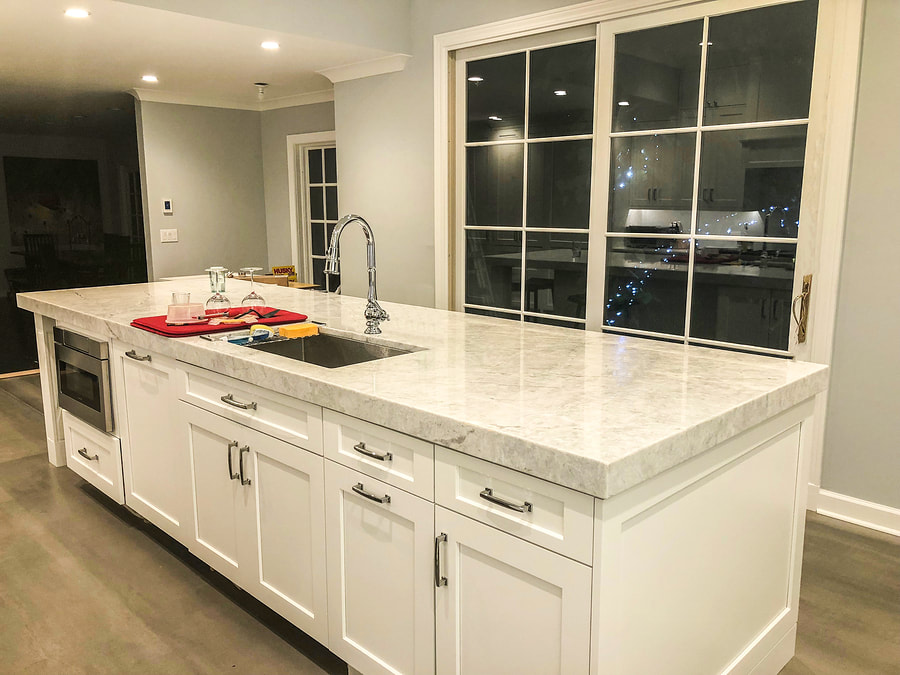 beautiful white marble kitchen countertop